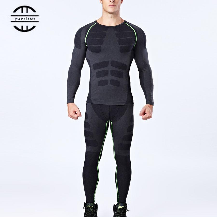 Brand Compresie Sport Suit Bărbați Tricou Gimnastică Fitness Leggings Barbat Tricou Tricou Baschet Pantaloni de Fitness Seturi de alergare negru