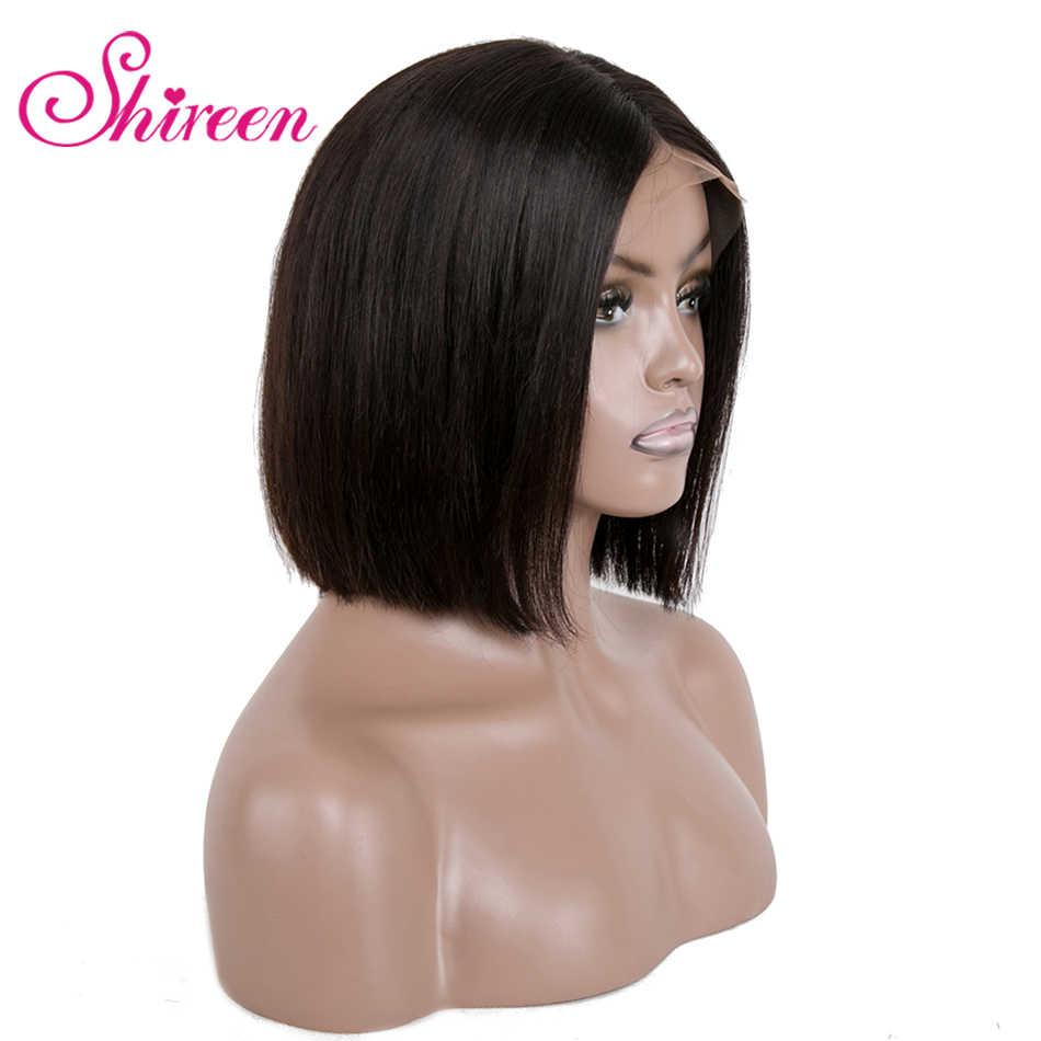 Короткие человеческие волосы парики для черных женщин Shireen перуанские прямые волосы Кружева передние парики с предварительно выщипанные волосы тупым вырезом боб парики