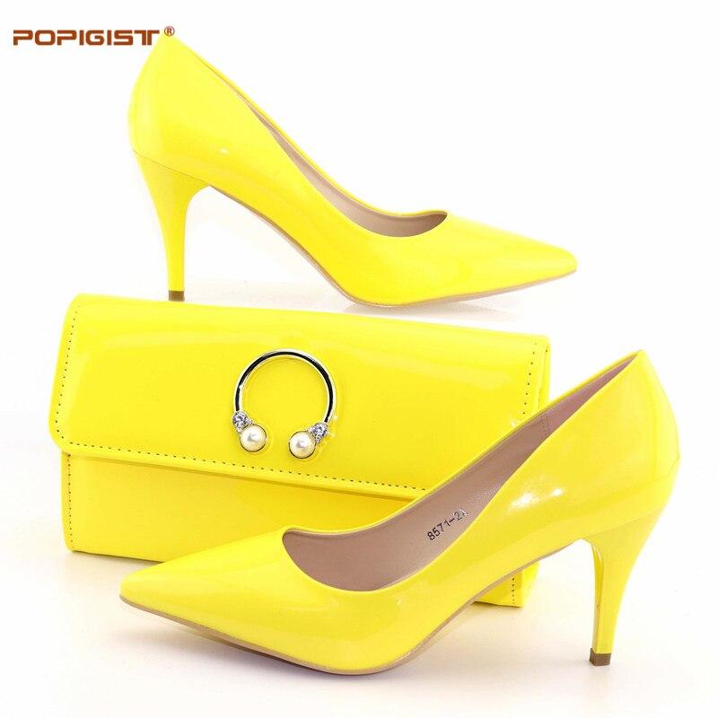 Italiennes Chaussures Mariage L Femmes amp; Pour Ensemble red Cadeau De yellow pink Fête Anniversaire Sexy green Black Avec Sac Office Pompes l Vert Assorti Et Lady Mince La 57qPzwz