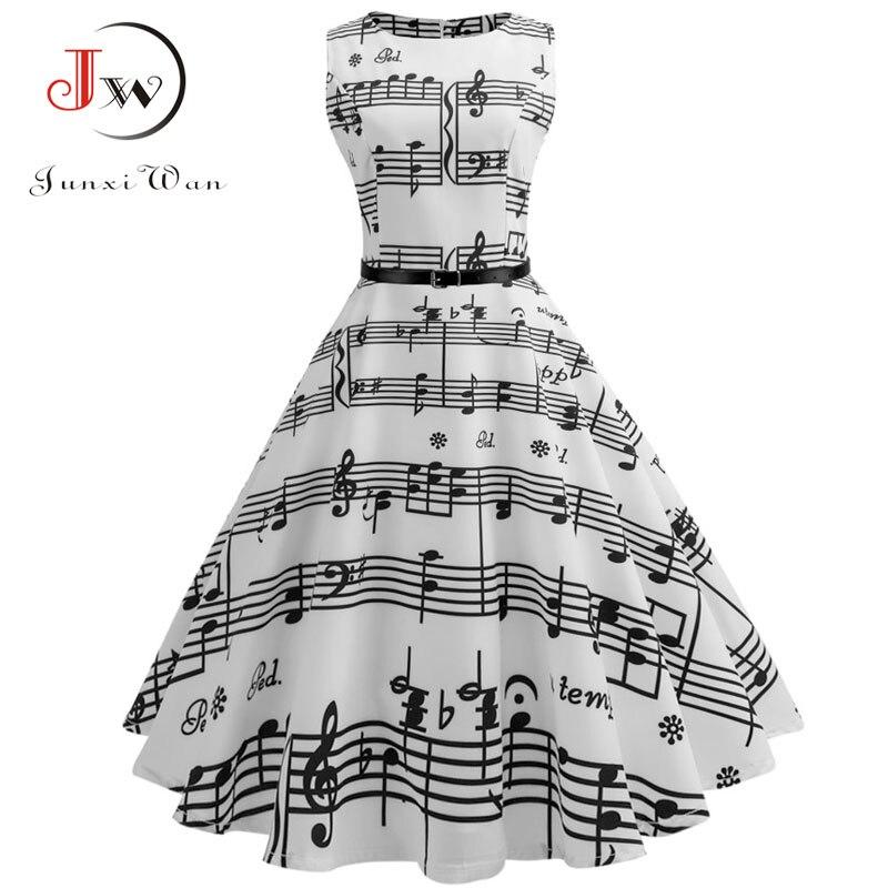 Floral Print Women Summer Dress Hepburn 50s 60s Retro Swing Vintage Dress A-Line Party Dresses With Belt jurken Plus Size 2