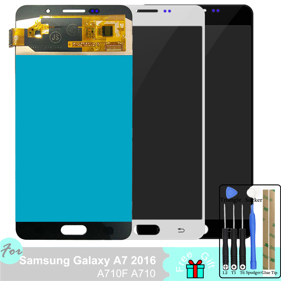 Super AMOLED LCD For Samsung Galaxy A7 2016 A710 A710F Touch Screen Digitizer AssemblySuper AMOLED LCD For Samsung Galaxy A7 2016 A710 A710F Touch Screen Digitizer Assembly