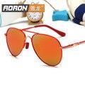 Gafas de sol polarizadas niños niñas sun glasse moda marco grande retro de La Vendimia de la Marca de diseño de Metal de revestimiento de Color espejo lente