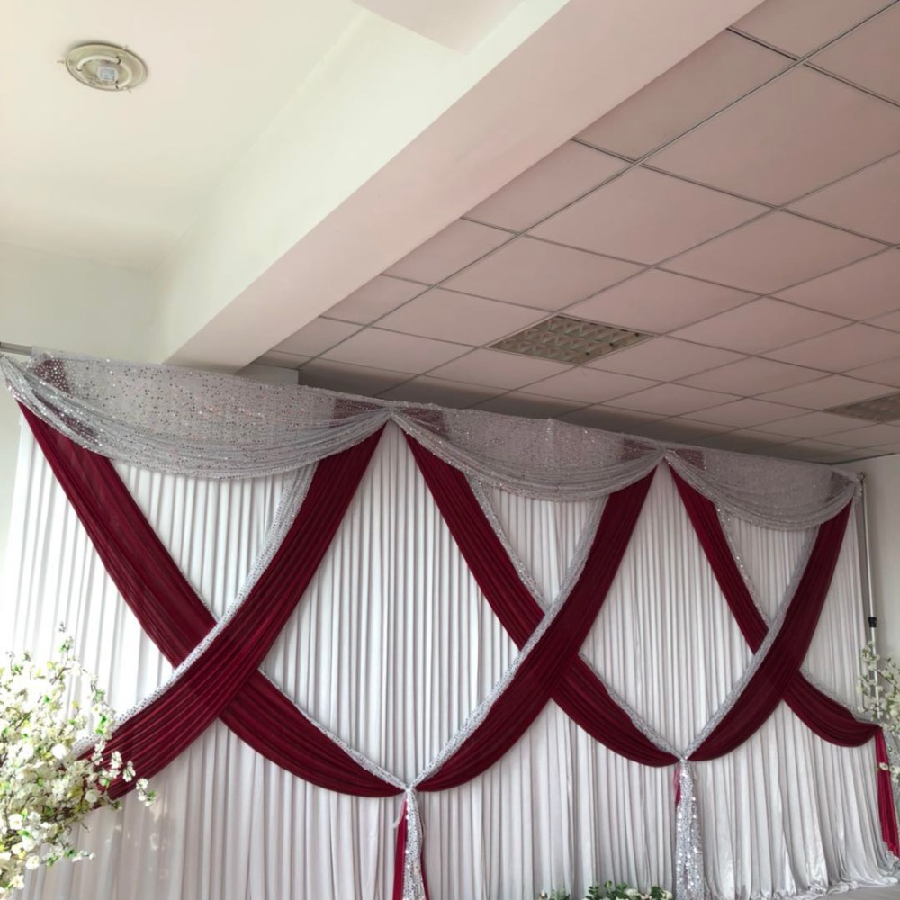Us 197 7 White Wedding Backdrop Burgundy Ice Silk And Silver Sequinmixed Swag Drapes For 3mx6m Curtain Event Party Decoration In Party Backdrops
