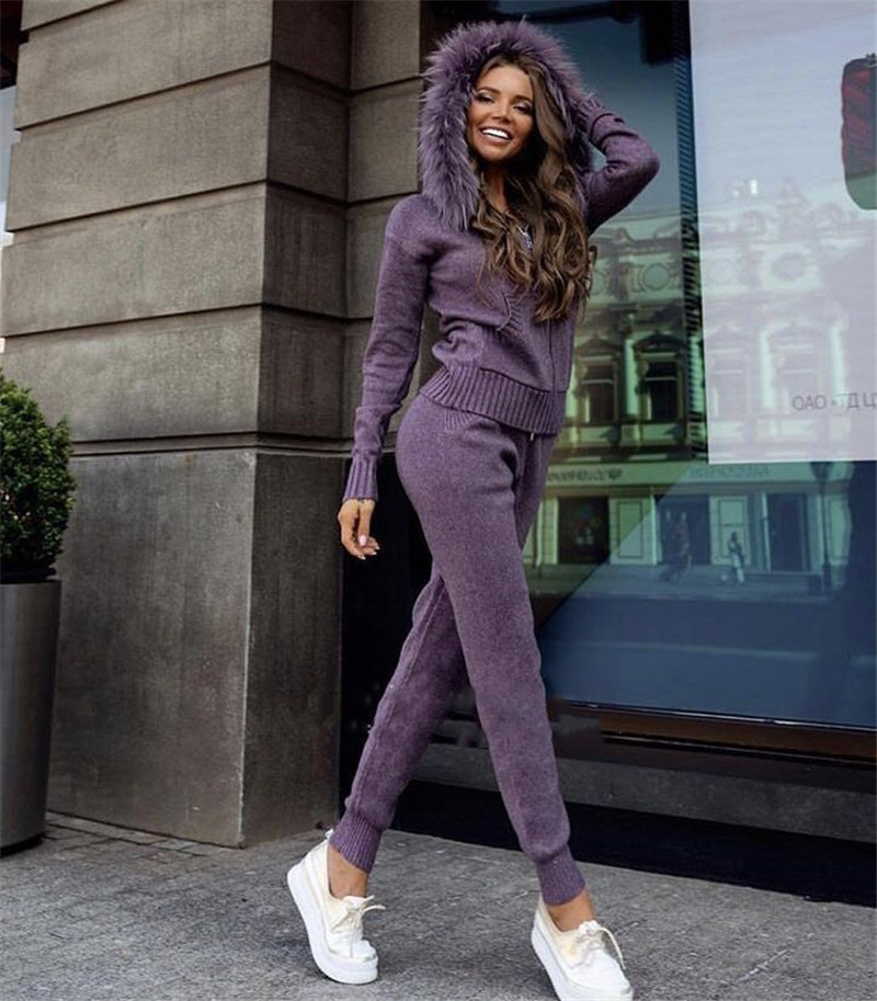 2019 Winter Thick Cashmere Suit Female Fashion Fox Fur Collar Hooded Cardigan + Trousers Knitted Cashmere 2 Piece Suit Woman