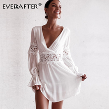 цена на EVERAFTER V neck embroidery lace dress women 2019 autumn sexy backless patchwork petal sleeve draped elegant party short dresses