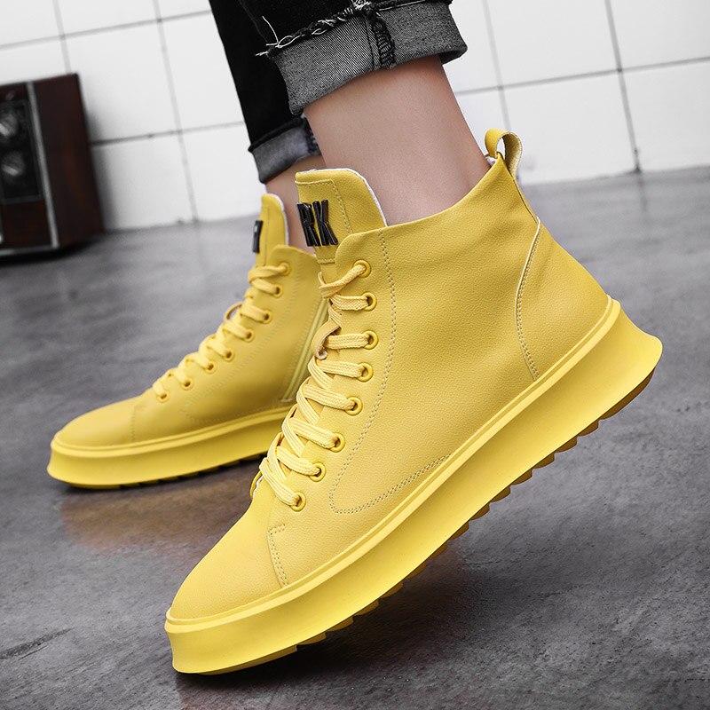 Alta white Moda De Casuais Nova Marca Zipper Casual Homens Amarelo Top Sapato Sneakers Tendência Flats yellow Jovens Sapatos 2019 Couro Black Masculino qBAxORq8n
