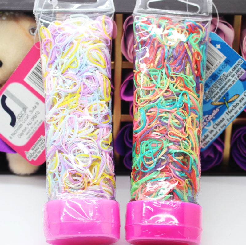 1000 pcs/lot one-off elastic bands toothpaste shape package colorful TPR ponyholders for girls hair accessories