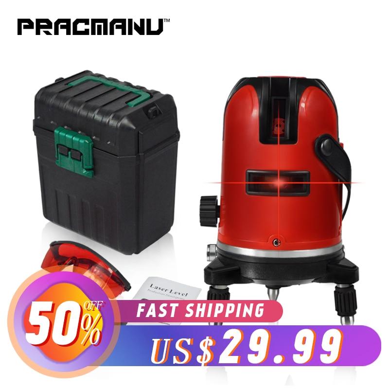 PRACMANU 5 Lines 6 Points Laser Level Automatic Self Leveling 360 Vertical Horizontal Tilt Degrees Rotary