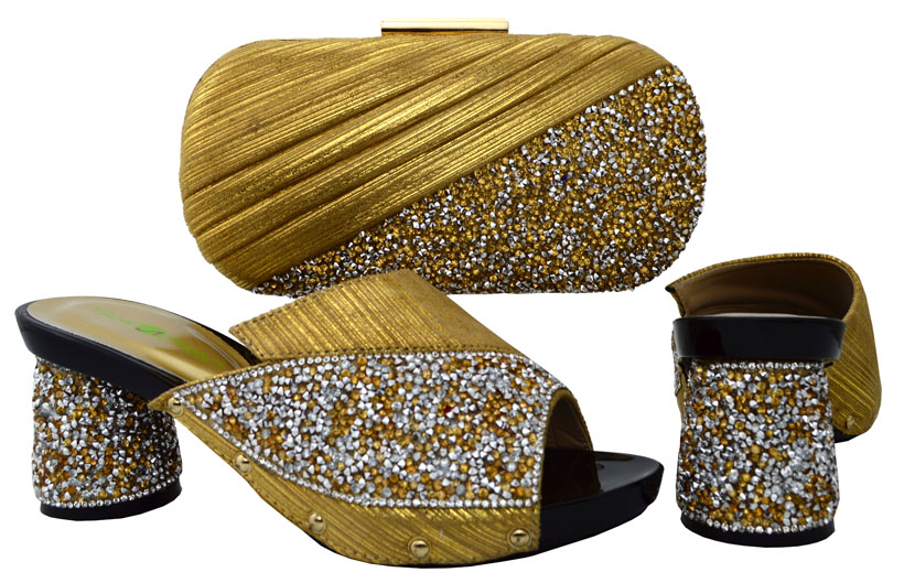 ФОТО New Arrival Italian Design Gold Matching Shoes and Bag Set African Women Shoes and Bag To Match for Party BCH-13