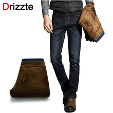 Drizzte Mens Winter Stretch Thicken Jeans with Warm Fleece High Quality Denim Jean Pants Trousers Size 28-35-42