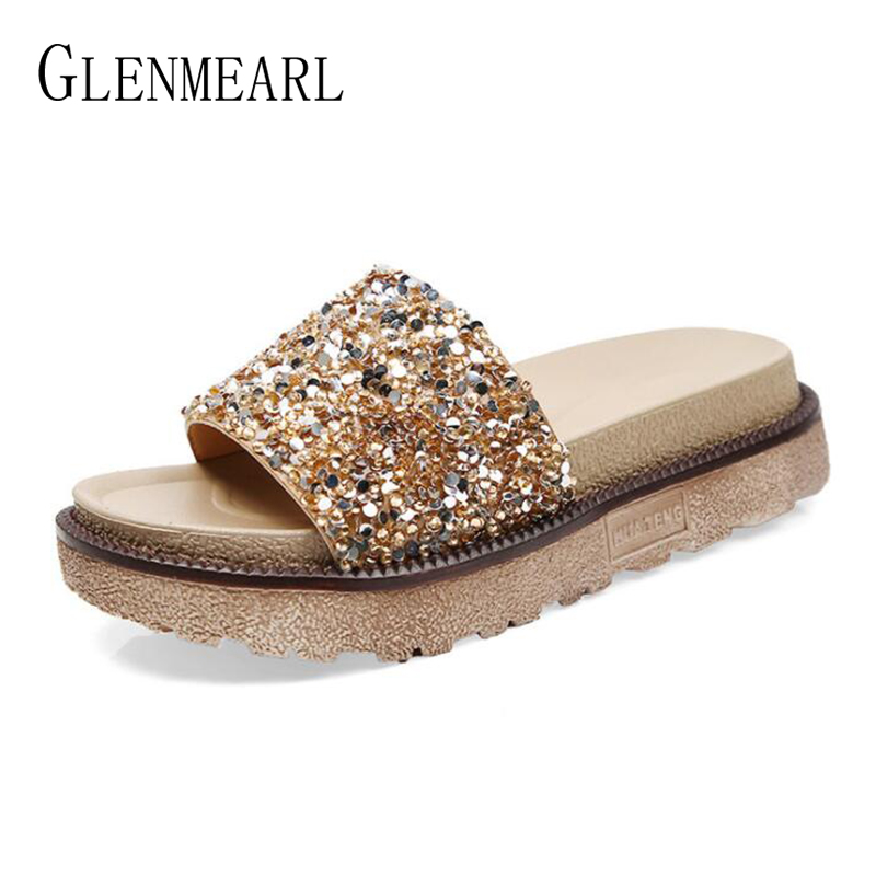 Brand Women Slippers Flat Heels Summer Shoes Female Mules Platform Beach Slides Sequined Cloth Open Toe Ladies Shoe Plus Size DE aimeigao large size summer slides women slippers ladies flat heels shoes open toe comfortable outside slippers women shoes