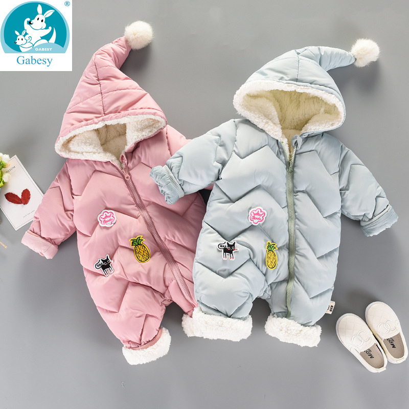 Winter   Rompers   Baby girl newborn Clothes Children Boys Girls Jumpsuit Kids Down Cotton Overalls snowsuit Hoodies warm Clothing