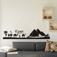 New arrival Egypt Pyramid Silhouette of Desert Landscape Sticker Removable Vinyl Wall Decal Art Mural Home Decoration