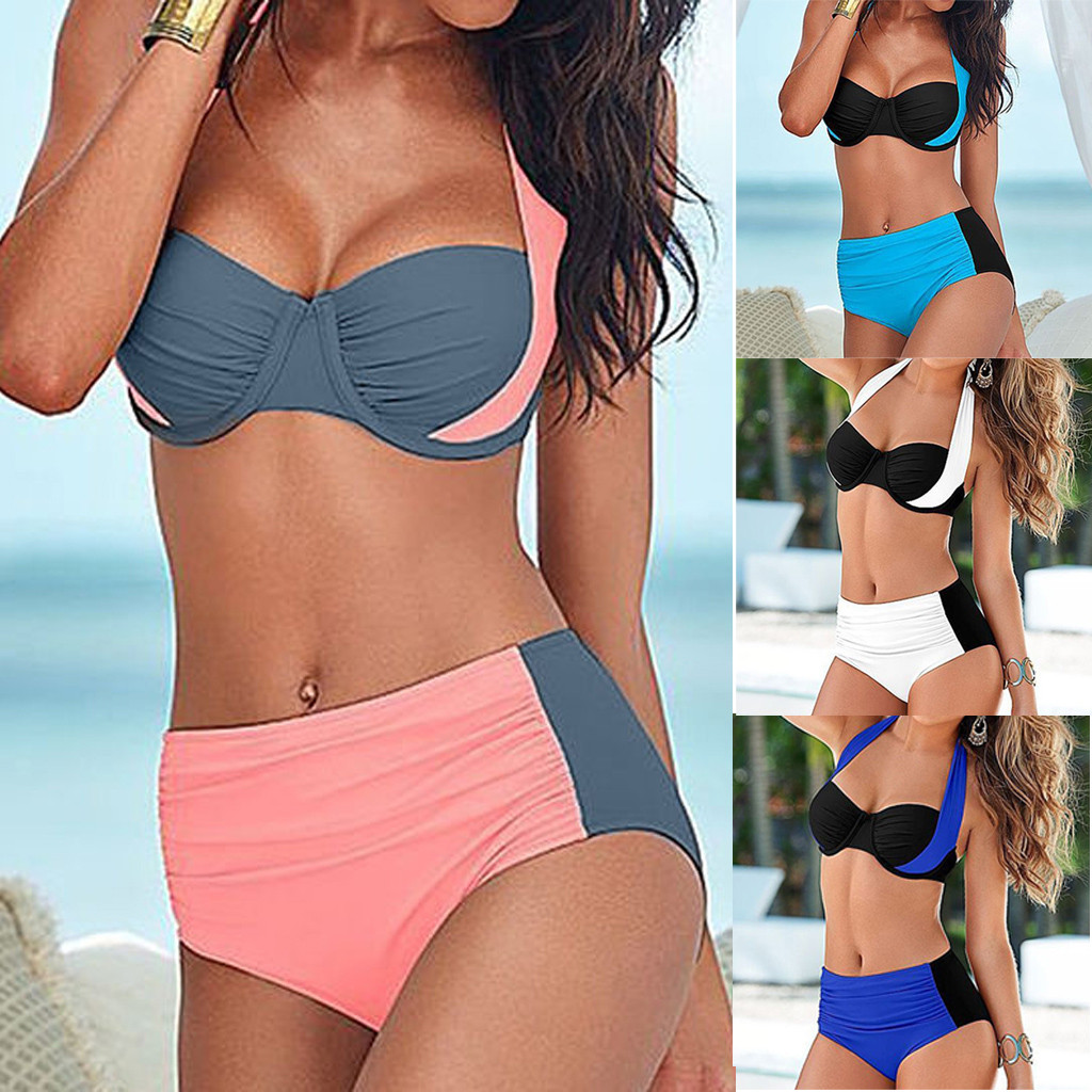 Swimwear Women Padded Bikini-Set Bathing-Suit Tankini High-Waist Push-Up -5 title=