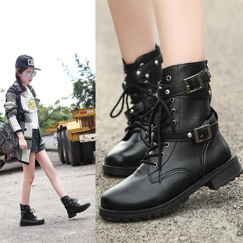ff1b6cad5742 2018 Fashion Women Boot Punk Gothic Style Lace up Round Toe Boots Women  Shoes Short Boots