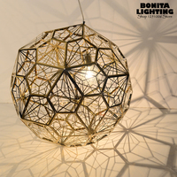 Indoor Lighting Hollow Stainless steel ball Lighting Shadow cord pendant lamp Tom Dixon design pendant lighting lampshades