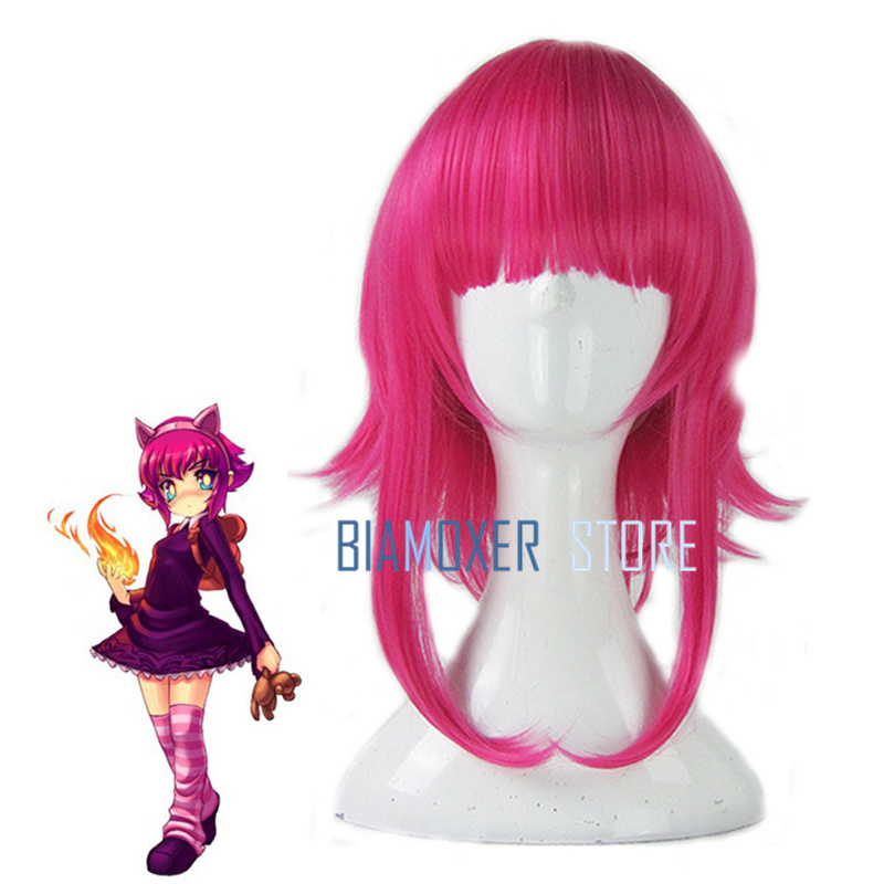 Biamoxer New Arrival Game LOL Annie Character Cosplay Wigs 45cm Rose red Heat Resistant Synthetic Hair Perucas Cosplay Wig