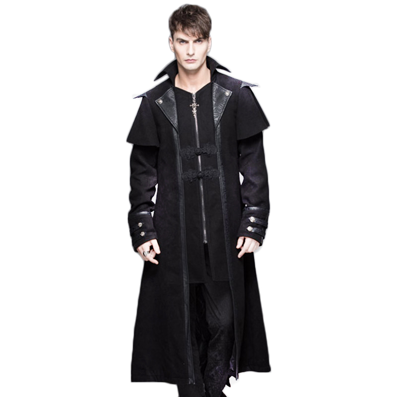 펑크 고딕 롱 슬리브 맨 자켓 겨울의 재킷 자켓 블랙 컬러 남성 의류에 대한 Steampunk windproof 롱 코트