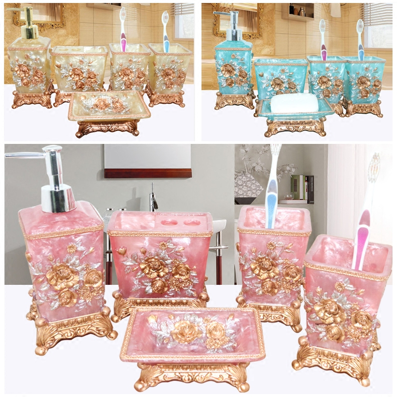 Pretty In Pink Bathroom Set Resin Wedding Gifts Of Five Pieces Toiletries Kit Accessories Sets