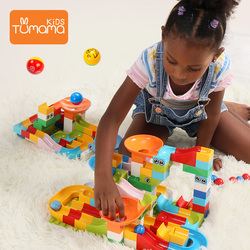 104PCS Marble Race Run Maze Ball Track Building Blocks Plastic Funnel Slide Big Size Bricks Compatible Blocks