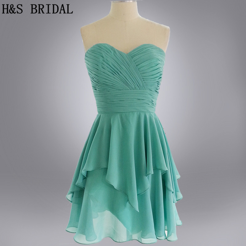 Real Model Sweetheart short green   bridesmaid     dress