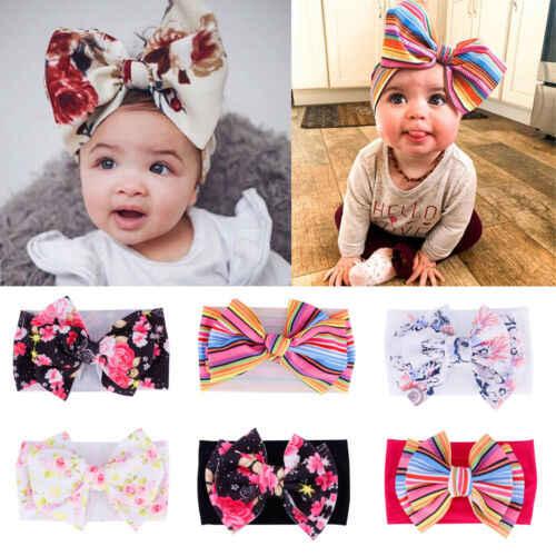 Infant Baby Girl Kids Rabbit Bow Headband Hair Band Headwear Soft Stripe Turban