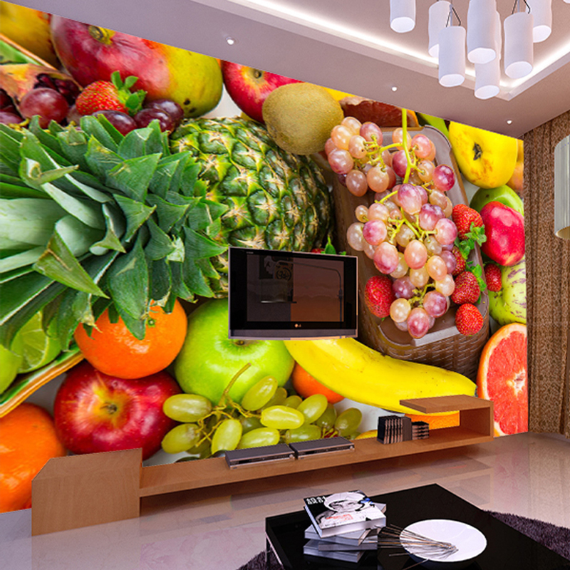 Blackboard Wallpaper Murals Food Wallpaper Murals Bistro: 3D Wall Mural Custom Photo Wallpaper Kitchen Fruit Shop