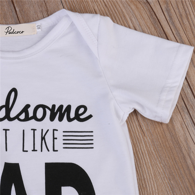2a6aa2eb0 Newborn Toddler Infant handsome like dad letter Baby Boy shirt ...