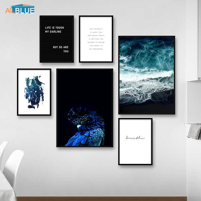 Scandinavian Abstract Posters And Prints Parrot Sea Landscape Canvas Painting Wall Art Pictures For Living Room Quote Home Decor