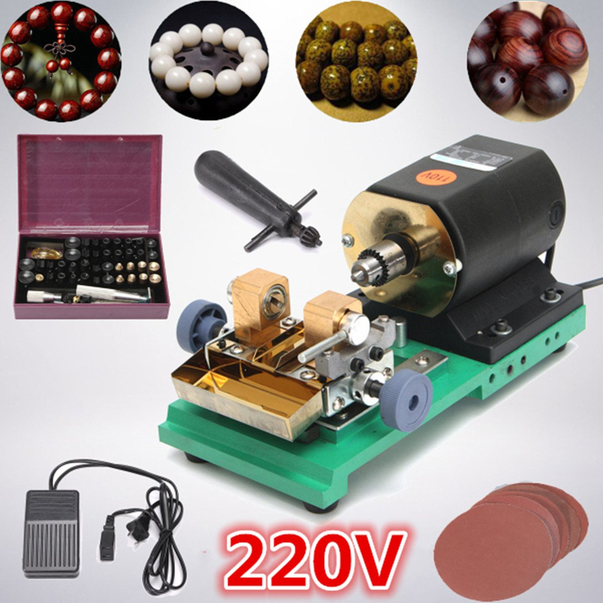 380W 220V Pearl Drilling Holing Machine Driller Full Set Jewelry Jade Driller Tools With Sanding Disc jade hanging milling machine flexible shaft machine jewelry polisher 4mm 220v