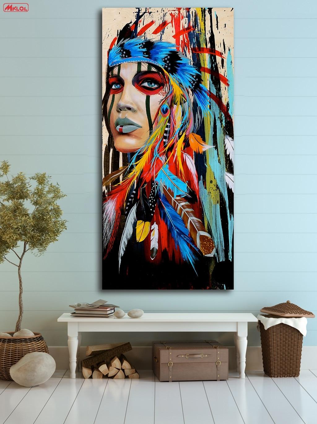 Aliexpress.com: Compre Pintura A Óleo Moda Native American Girl Paiting  Decoração Da Casa Na Lona Moderna Arte Da Parede Da Lona Impressão Pintura  Da Lona ... Part 58