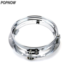 1pc Popnow Chrome Sliver Motorcycle Led Headlight Ring Bracket Round 7'' Headlamp Mounting Stainless Steel for Harley #8037