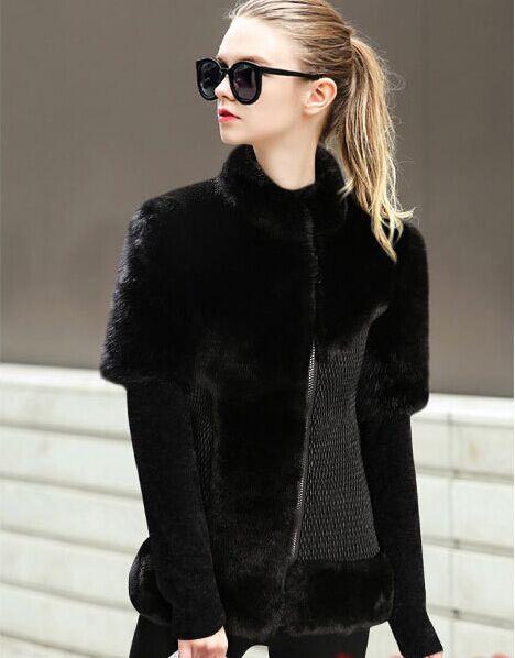 Casaco De Pele Falso 2017 Women Winter 2018 Black Mink Fur Jackets ...