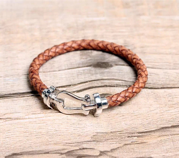 Designer Fashion 925 Sterling Silver Jewelry Platinum Plated Real Leather Bracelet