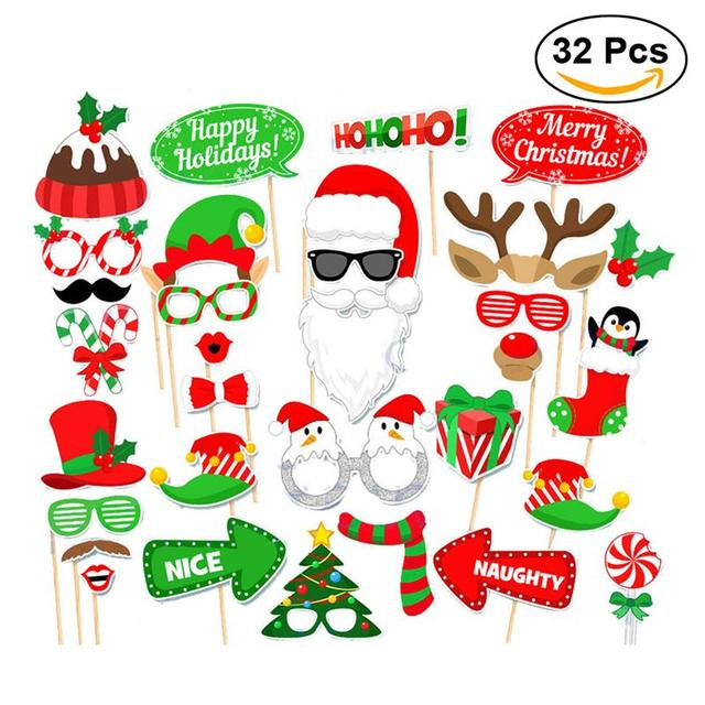 32pcs set christmas party photo booth props creative happy christmas