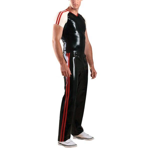 0.6mm épaisseur Latex hommes costume manches courtes chemise Long Latex pantalon - 2