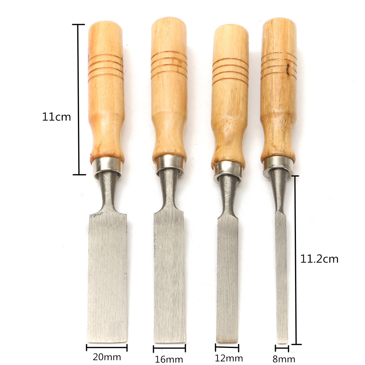Doersupp 8/12/16/20mm 4Pcs For Woodworking Carpenter Hand Tools Work Wood Carving Chisels Tool Set