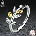 Anel de Dedo de Prata Esterlina 925 Folhas de Louro com Duas Folhas de Ouro Luxuoso Compatível com Pan Jóias A7155