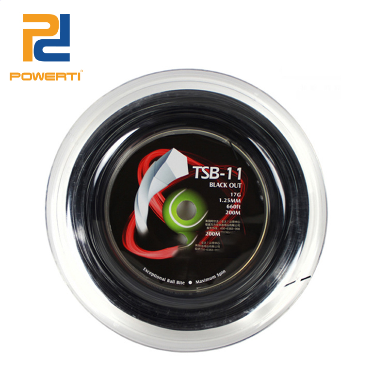 POWERTI Pentagon 200m Reel Polyester Tennis Racket 1.25mm Tennis Racquet Strings Durable Sport Training String Black  TSB-11 crystal lamp bedroom bedside lamp decoration lamp european creative wedding marriage room warm rose wedding gift table lamp