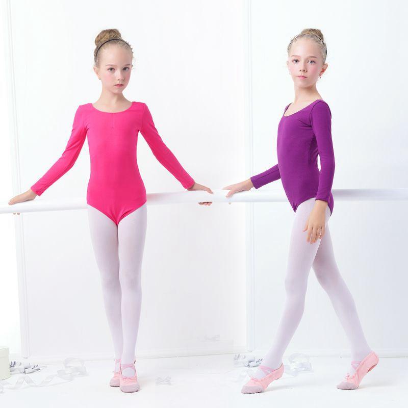 Las niñas gimnasia leotardo ropa de Ballet danza púrpura negro Leotardos de mono de algodón para bailar