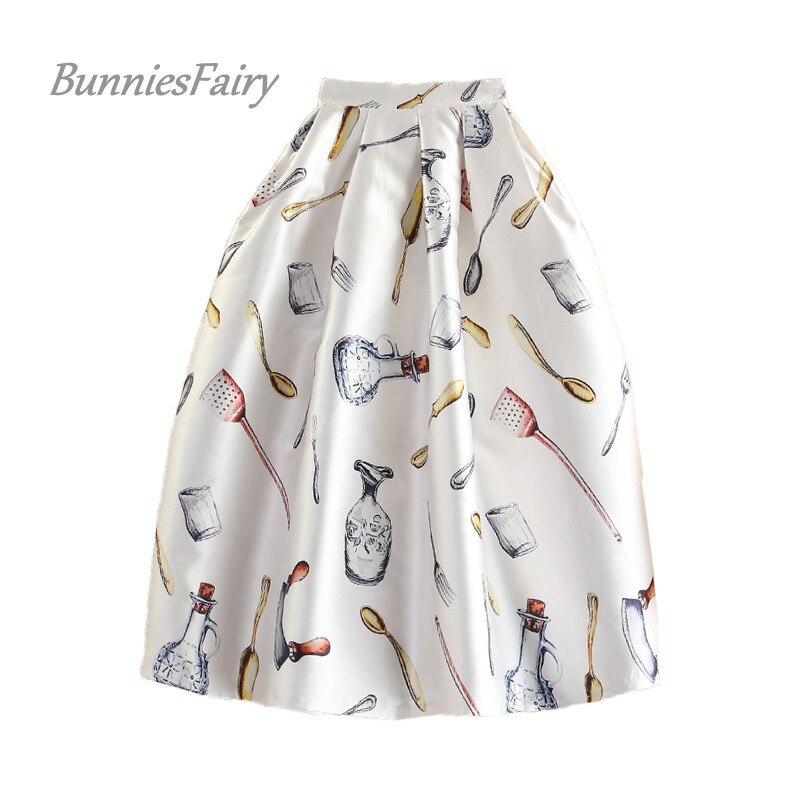 Bright Bunniesfairy Brand 2018 Runway Fashion Style Vintage Antique Cutlery Novelty Print High Waist Pleated Midi Skirt Saia Feminina Driving A Roaring Trade