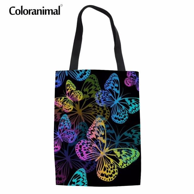 22401a8a12 Coloranimal Cotton Fabric Women Casual Handbags 3D Butterfly Print Tote  Canvas Shoulder Bags Tote Linen Schoolbag for Teenager
