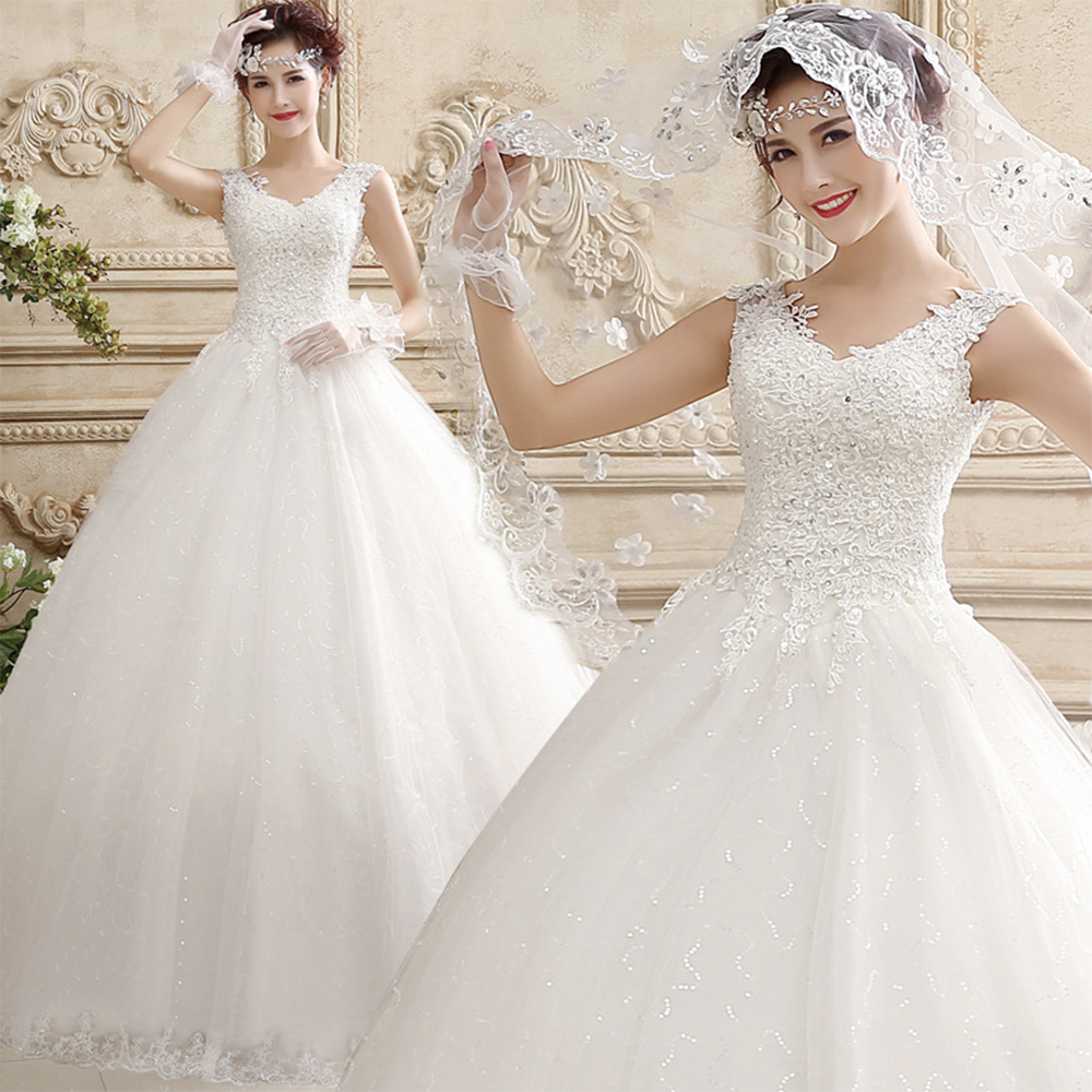 Fansmile Vestidos De Noivas Pearls Ball Gown Wedding Dress 2020 White Princess Plus Size Bridal Wedding Gowns FSM-643F
