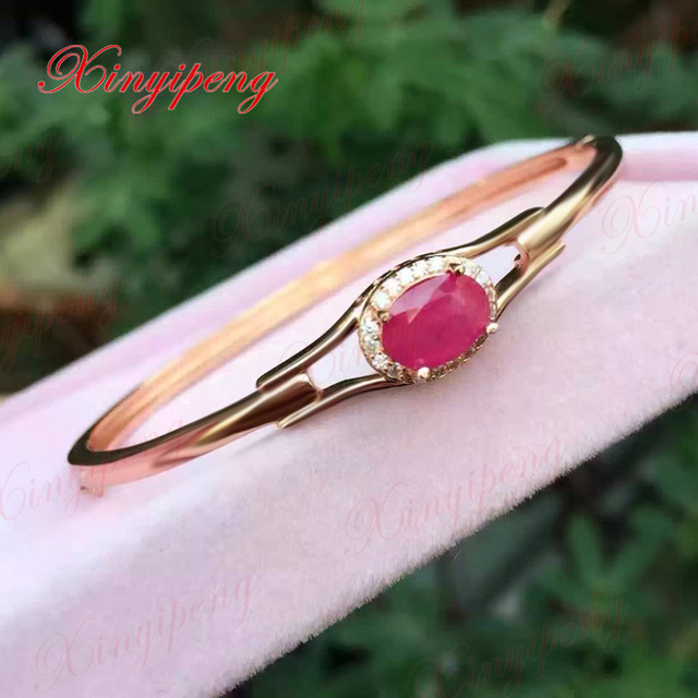 GLY     925 sterling silver with 100% natural Ruby bracelet women Fashion is pure and fresh Colored gems