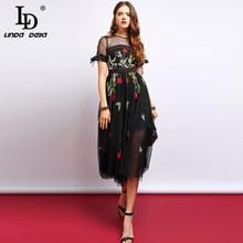 LD LINDA DELLA Fashion Runway Summer Dress Womens Short Sleeve Flower Embroidery Mesh Overlay Elegant Vintage Midi Dresses 2019