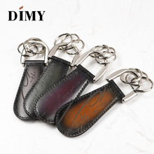 DIMY Hot Sale Genuine Leather Shoe Decorations shoehorn Wholesale Fashion Car Key Chain Steel Charm Lifter Ring Simple