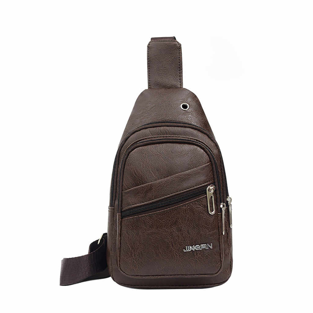 Multifunction Crossbody Men Bags PU leather Chest Pack Short Trip  Casual Travel  Messengers Chest Bag Shoulder Bag Male