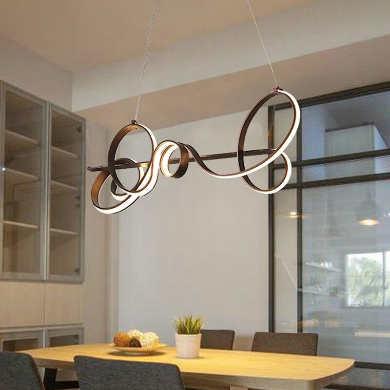 Kaffee Finish Länge 790mm Moderne Led Anhänger Lichter AC85 265V Für  Esszimmer Küche Zimmer Bar