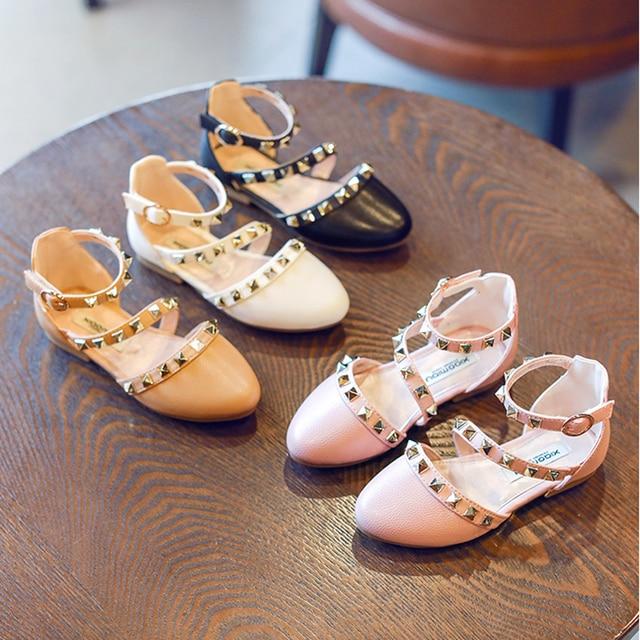 Nice girls shoes summer V rivet sandals children princess dress stylish  dance ballet shoe wedding T-strap fille chaussures 1a666c9beb6b