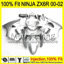 8Gifts Injection mold Body For KAWASAKI NINJA ZX-6R 00-02 1HM137 ZX 6R ZX6R 00 01 02 ZX636 2000 2001 2002 Fairing gloss silver
